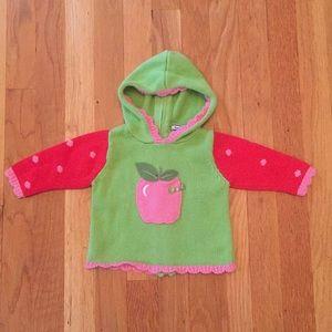 Hartstrings EUC BabyGirl Apple Hooded Sweater 6-9m